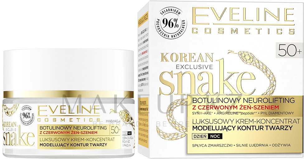Крем для лица - Eveline Cosmetics Korean Exclusive Snake Luxury Multilifting Cream Concentrate With Red Ginseng 50+ — фото 50 ml