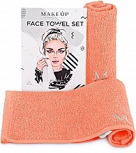 """Духи, Парфюмерия, косметика Дорожный набор полотенец для лица, персиковые """"MakeTravel"""" - Makeup Face Towel Set"""