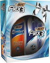 Духи, Парфюмерия, косметика Набор - Bic Flex 3 Comfort (razor/4шт + foam/200ml)