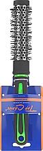 """Духи, Парфюмерия, косметика Щетка для волос """"Neon"""" круглая 27мм, 63701, черная с зеленым - Top Choice"""