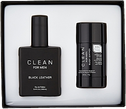 Набор - Clean Black Leather Men (edt/100ml + deo/75ml) — фото N2