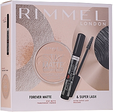 Духи, Парфюмерия, косметика Набор - Rimmel Forever Matte & Super Lash (mascara/8ml + powder/14g)