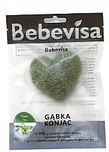 """Духи, Парфюмерия, косметика Спонж для умывания, сердце """"Зелёный чай"""" - Bebevisa Konjac Sponge"""