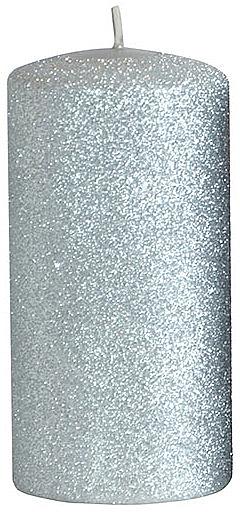 Декоративная свеча, серебряная, 7x14 см - Artman Glamour — фото N1