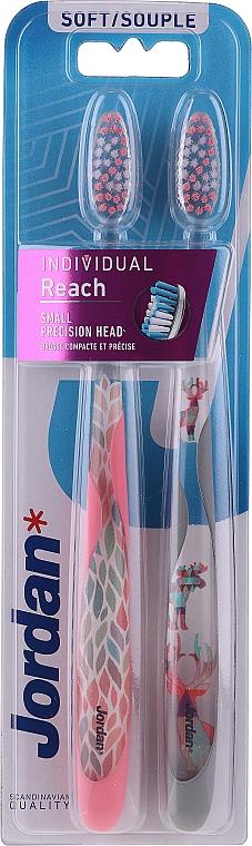 Зубная щетка Individual Reach, мягкая, розовая + олень - Jordan Individual Reach Soft — фото N1