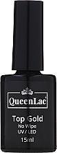 Духи, Парфюмерия, косметика Топ для гель-лака без липкого слоя - QueenLac Top Gold No Wipe UV/LED