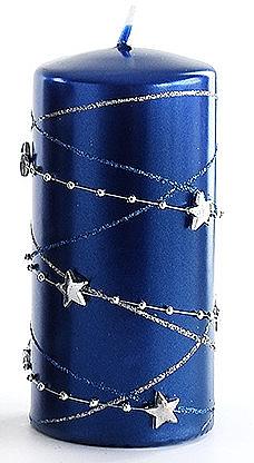 Декоративная свеча, темно-синяя, 7x14 см - Artman Christmas Garland — фото N1