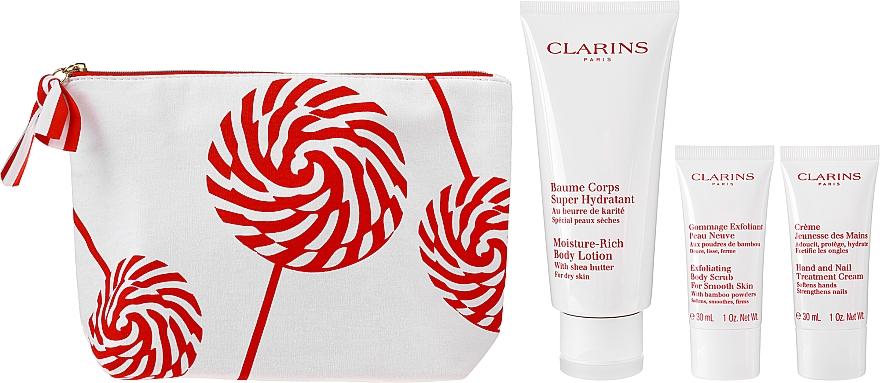 Набор - Clarins Moisture Rich Body Lotion Christmas Set (b/balm/200ml + b/scr/30ml + h/cr/30ml + bag) — фото N2