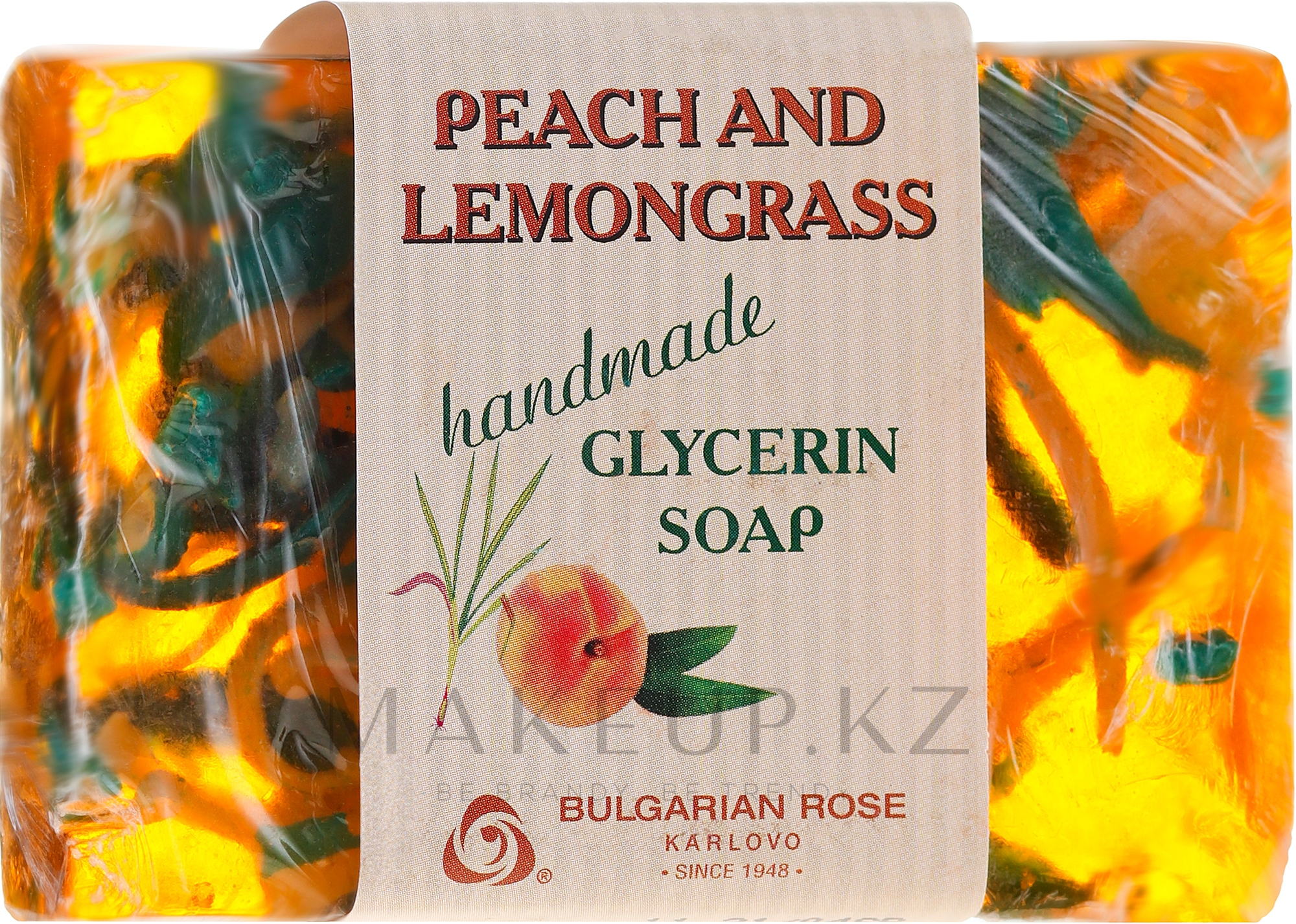 """Глицериновое мыло """"Персик и лемонграсс"""" - Bulgarian Rose Peach & Lemongrass Soap — фото 80 g"""