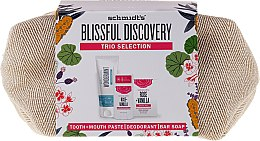 Духи, Парфюмерия, косметика Набор - Schmidt's Blissful Discovery (toothpaste/100ml + deo/58ml + soap/142g + bag)