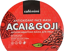 Духи, Парфюмерия, косметика Антиоксидантная тканевая маска для лица - Cafe Mimi Antioxidant Fase Mask Acai & Goji
