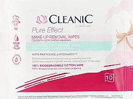 Духи, Парфюмерия, косметика Салфетки для снятия макияжа, для нормальной кожи, 10 шт. - Cleanic Pure Effect Moisturizing