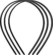 """Духи, Парфюмерия, косметика Обруч для волос пластмассовый """"Basic"""", средний, 3шт., черный - Titania"""